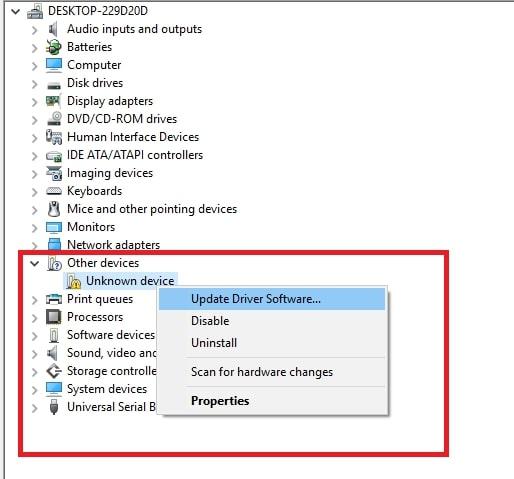 """Click chuột vào phần driver màu vàng đó rồi chọn """"Update Driver Software""""."""